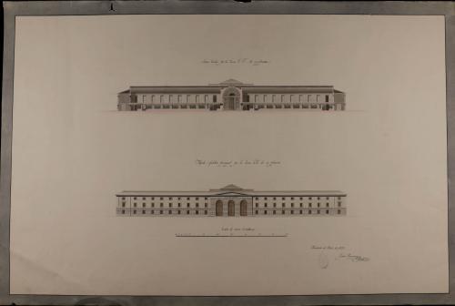 Alzado de la fachada principal y sección EF de un hospital general para Granada