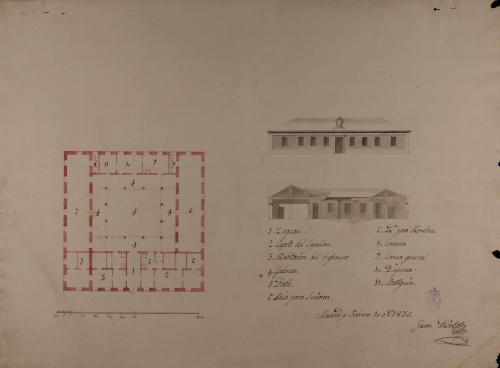 Planta, alzado de la fachada principal y sección de un hospital de caridad de 24 camas para un pueblo