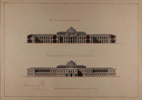 Alzado de la fachada principal y sección CD de un hospital general para Burgos