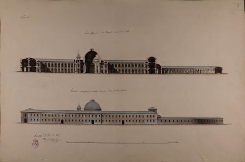 Alzado de la fachada lateral y sección AB de un hospital general para Burgos
