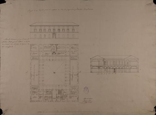 Planta, alzado de las fachada principal y sección AB de un hospital para 100 enfermos