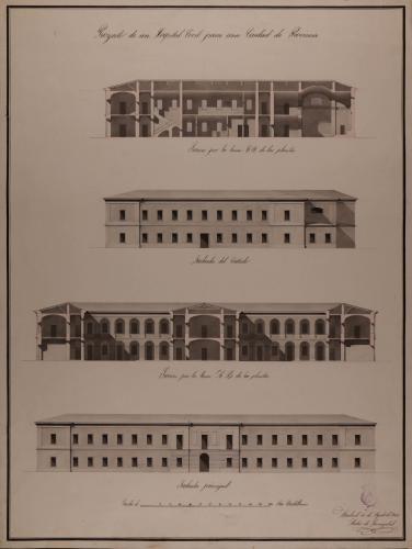 Alzado de la fachada principal y lateral, y las secciones AB y CD de un hospital civil para una capital de provincia