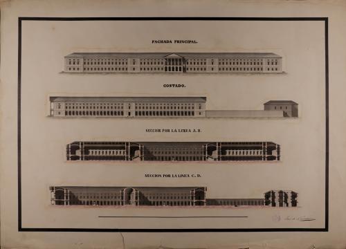 Alzado de la fachada principal y lateral, y las secciones AB y CD de un hospital general