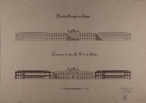 Alzado de la fachada principal y sección AB de un hospital
