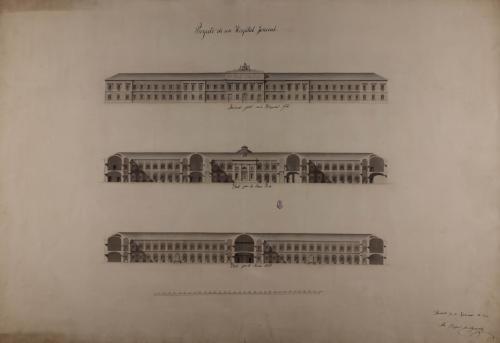 Alzado de la fachada principal y las secciones AB y CD de un hospital general