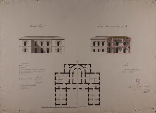 Planta, alzado de las fachada principal y sección AB de un hospital de caridad de 24 camas para un pueblo