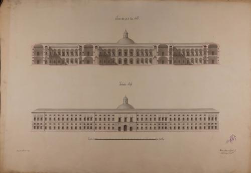 Alzado de la fachada principal y sección AB de un hospital general