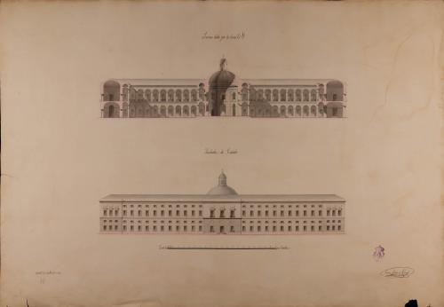 Alzado de la fachada lateral y sección CD de un hospital general