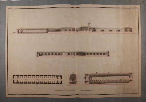 Alzado de la fachada posterior, sección CD de un hospital y planta y sección de una de las salas para los enfermos