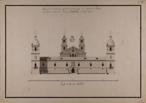 Alzado de la fachada principal del hospital general de Santiago de la ciudad de Úbeda, de Andrés Vandelvira