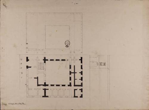 Mitad de las plantas baja y principal, y del alzado de la fachada de una casa consistorial para un pueblo de 500 vecinos, con cárcel, carnicería y alhóndiga