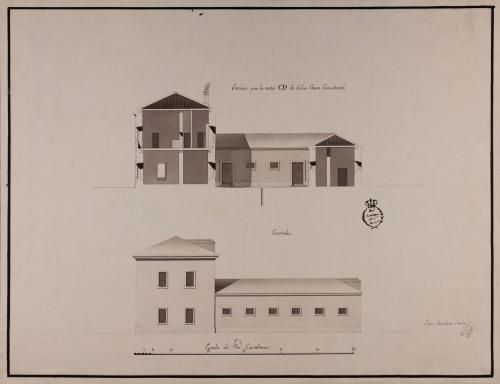 Alzado de la fachada lateral y sección CD de una casa consistorial para un pueblo de 500 vecinos, con cárcel, carnicería y alhóndiga