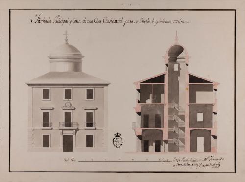 Alzado de la fachada principal y sección de un casa consistorial para un pueblo de 500 vecinos