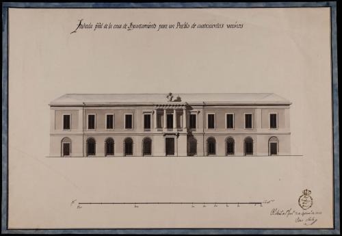 Alzado de la fachada principal de una casa de ayuntamiento con cárcel agregada, para un pueblo de 400 vecinos