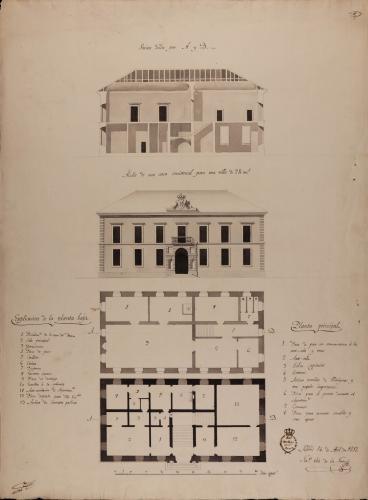 Plantas baja y principal, alzado de la fachada principal y sección AB de una casa consistorial para una villa de 2.000 vecinos