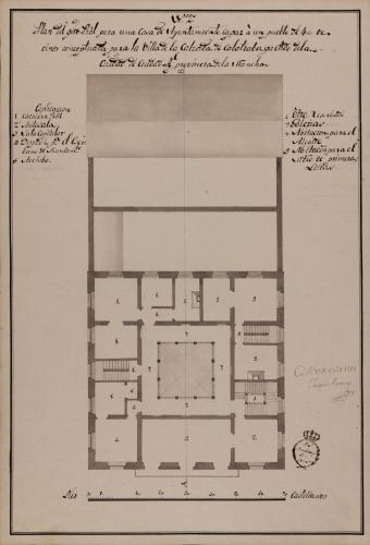 Planta principal de una casa de ayuntamiento de la Calzada de Calatrava, partido de Ciudad Real