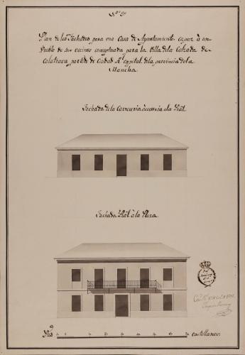 Alzado de las fachadas de una casa de ayuntamiento de la Calzada de Calatrava, partido de Ciudad Real