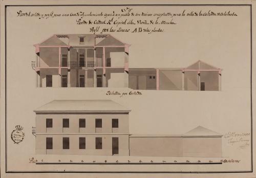 Alzado de la fachada lateral y sección AB de una casa de ayuntamiento de la Calzada de Calatrava, partido de Ciudad Real