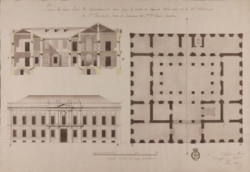 Planta, alzado de la fachada principal y sección AB de una casa de ayuntamiento para Granada