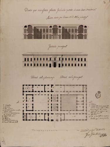 Mitad de las plantas baja y principal, alzado de la fachada principal y sección AB. de una casa consistorial.