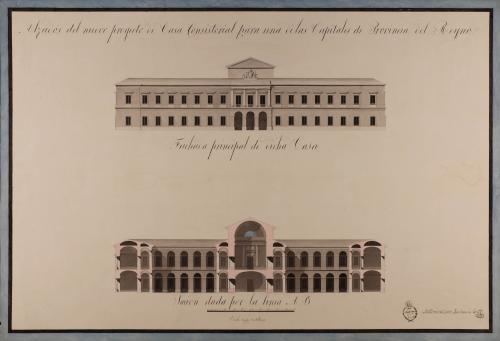 Alzado de la fachada principal y sección AB de un casa consistorial para una de las capitales de provincia del Reino.