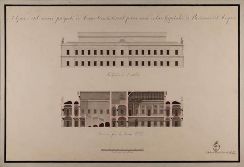 Alzado de la fachada lateral y sección CD de una casa consistorial para una de las capitales de provincia del Reino