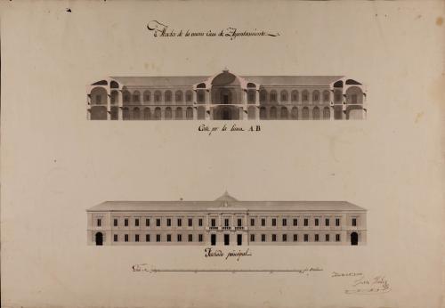 Alzado de la fachada principal y sección AB de un casa de ayuntamiento para una de las ciudades subalternas del reino