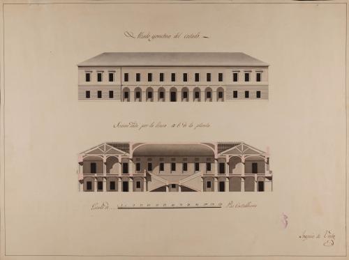 Alzado de la fachada lateral y sección a.b. de un edificio destinado a casa consistorial para una capital de provincia