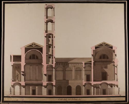 Sección AB de unaws casas consistoriales de Barcelona para situarlas en el mismo local que ocupan las actuales