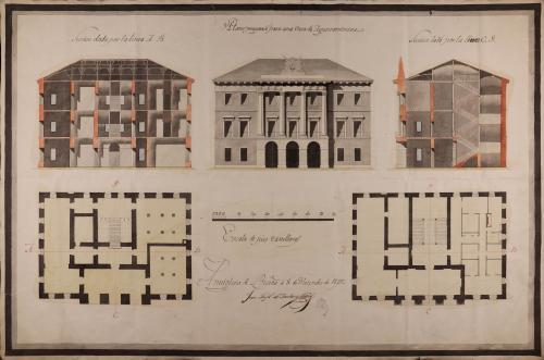 Plantas baja y principal, alzado de la fachada principal y las secciones AB y CD para una casa ayuntamiento