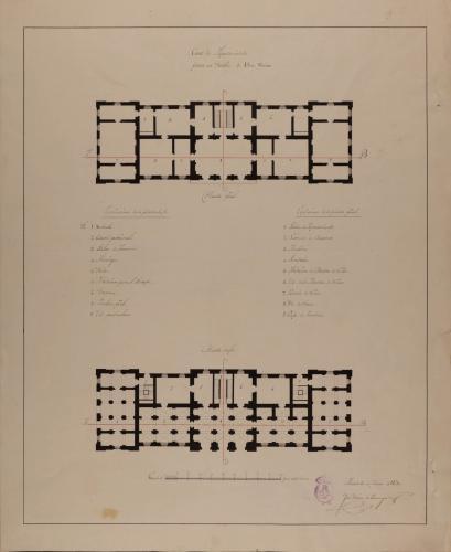 Plantas baja y principal de una casa de ayuntamiento para un pueblo de 1500 vecinos