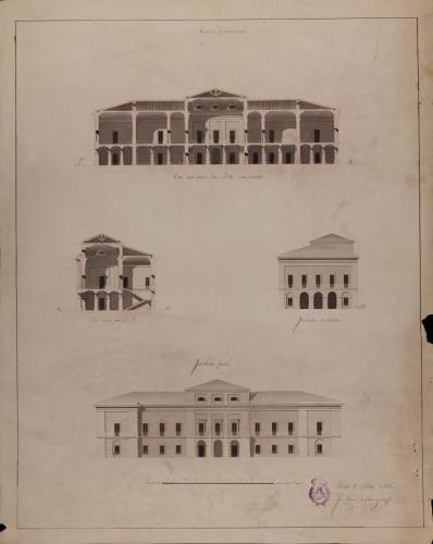 Alzado de las fachadas principal y lateral y las secciones AB y CD de una casa de ayuntamiento para un pueblo de 1500 vecinos
