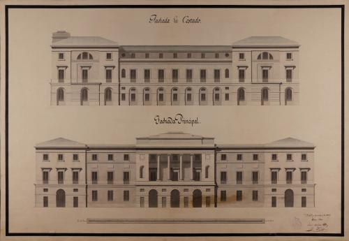 Alzado de las fachadas principal y lateral de una casa de ayuntamiento y diputación provincial