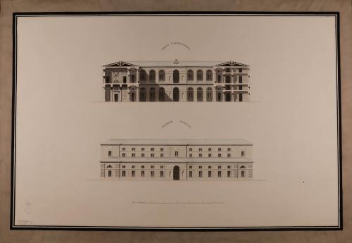 Alzado de la fachada lateral y sección transversal de una casa ayuntamiento para una capital de provincia