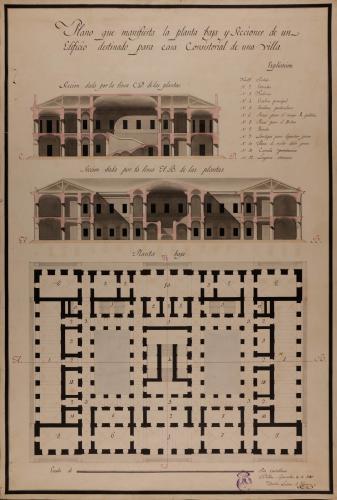 Planta baja y secciones AB y CD de una casa consistorial para una villa