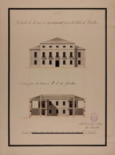 Alzado de la fachada principal y sección CD de una casa de ayuntamiento con cárcel, para la villa de Peralte (Navarra)