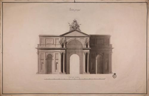 Alzado de la fachada principal de la puerta de Atocha