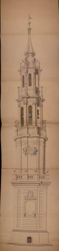 Alzado de la torre de la catedral de Zaragoza