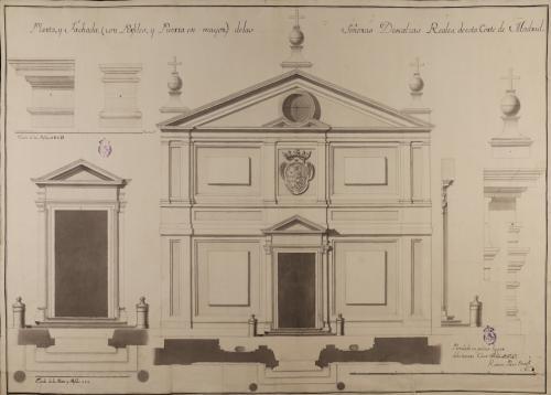 Planta y alzado de la fachada y de la puerta, y perfiles de elementos constructivos y decorativos de las Descalzas Reales