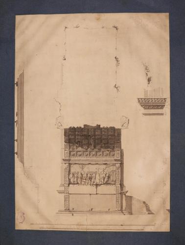 Sección, perfil y detalles decorativos del Arco de Tito en Roma