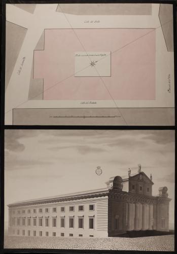 Plan topográfico y vista angular de las fachadas principal y lateralAudiencia para los tenientes corregidores de la Villa de Madrid, en el sitio que ocupa la casa donde vivía el Conde de Campomanes