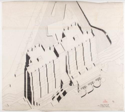 Colegio Mayor Hernán Cortés, Universidad de Salamanca. Perspectiva axionométrica de una de las unidades residenciales