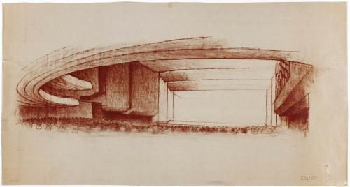 Palacio de Congresos y Exposiciones en el paseo de la Castellana, Madrid. Apunte de perspectiva de la sala principal