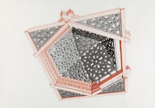 Armadura que cubre una de las capillas de la iglesia de Santiago, de Granada. Perspectiva cónica