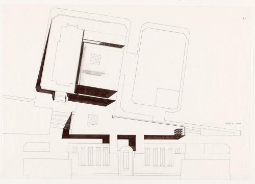 Concurso de ampliación del Museo del Prado, Madrid. Planta de cubiertas