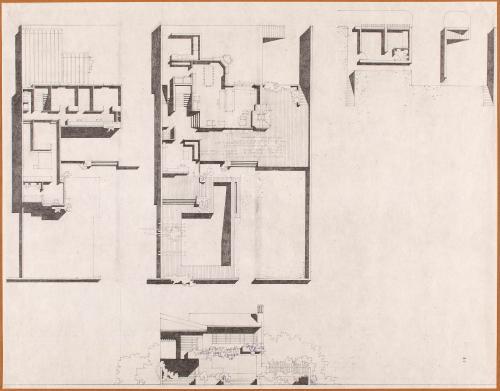 Planta inferior, sección y tramos de una vivienda individual