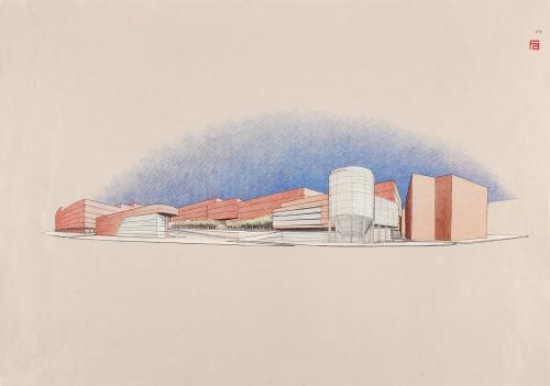 Propuesta de remodelación del conjunto de la fábrica de cervezas Mahou, Madrid. Vista volumétrica de conjunto