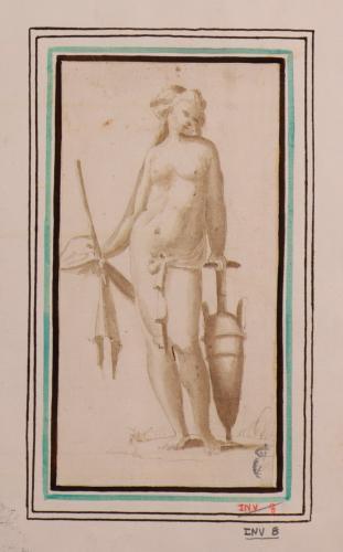Estudio de figura femenina desnuda, apoyada en un ánfora
