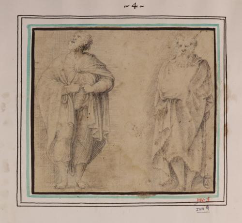 Estudio de hombre abriéndose el vientre y anciano embozado