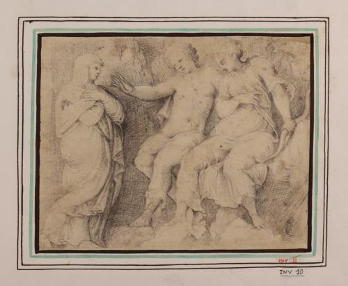 Estudio de mujer de pie ante Diana y Cupido sentados